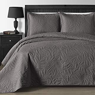 Extra Lightweight and Oversized Thermal Pressing Leafage 3-Piece Coverlet Set (King/Cal King, Gray)