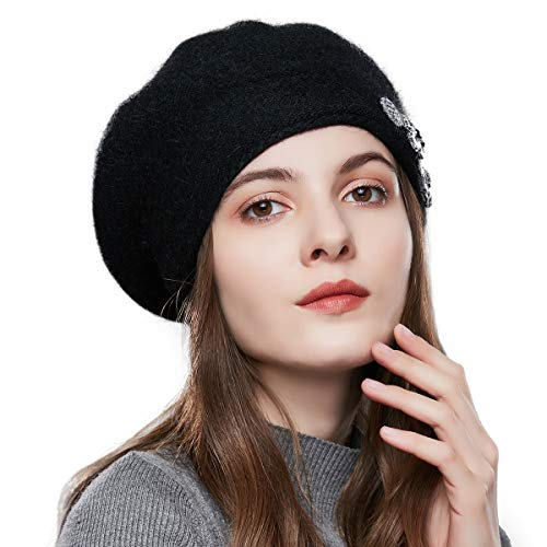 Winter French Beret for Women 100% Angora Wool Classic Beret Beanie