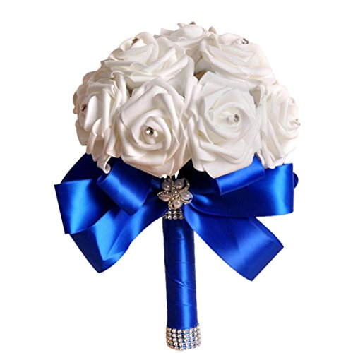 Bridesmaid Flowers,Han Shi Crystal Roses Tulle Pearl Bouquet Artificial Silk Flowers (S, Blue)