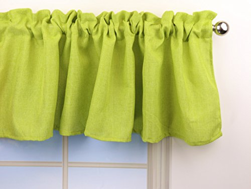 Aiking Home Pure 100% Faux Linen Window Valance - Size 56inch x 16inch, Lime