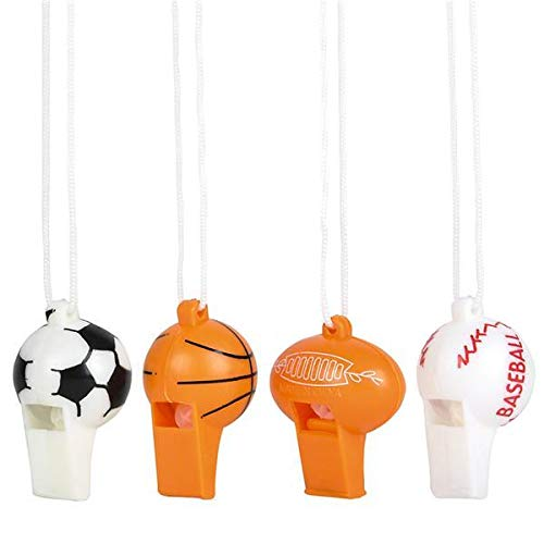 RIN Assorted Sports Baseball Football Soccer Basketball Whistles - 12 Pack