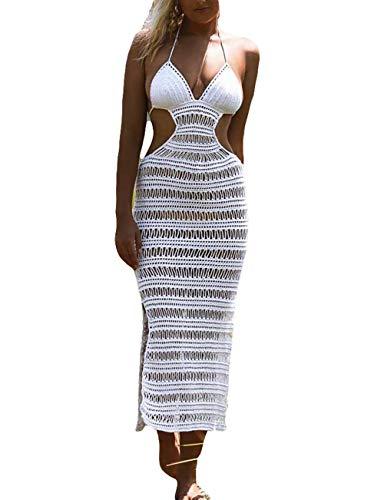 Bsubseach Women White Sexy Halter Strapless Crochet Dress Hollow Out Beach Bikini Swimsuit Cover Up ()