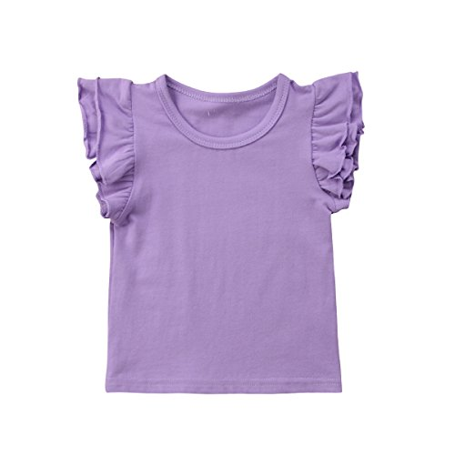 52274f25695 Mubineo Toddler Baby Girl Basic Plain Ruffle Sleeve Cotton T Shirts Tops  Tee Clothes ~ BoniPets - Baby Clothing   Accessories