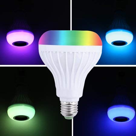 Praxan LED Wireless Light Bulb Speaker, RGB Smart Music Bulb, E27 Base Color Changing with Remote Control for Party