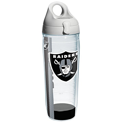 Tervis NFL Oakland Raiders Wrap Individual Water Bottle with Gray Lid, 24 oz, (Oakland Athletics Water)