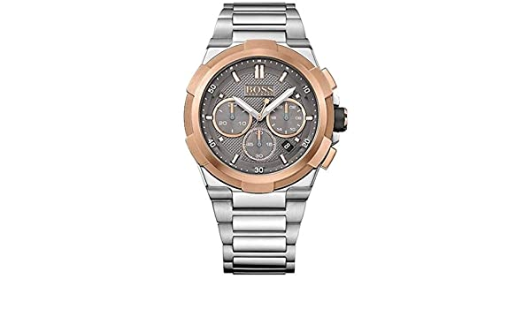 Amazon.com: Hugo Boss Mens Supernova Stainless Steel Bracelet Grey Dial 1513362: Watches