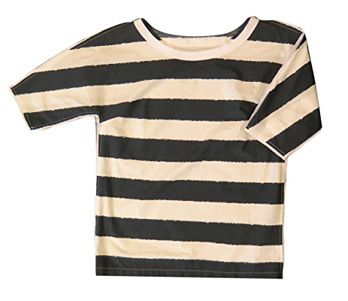 Dolce & Gabbana Black and Ivory Striped Cotton Short Sleeve Blouse -
