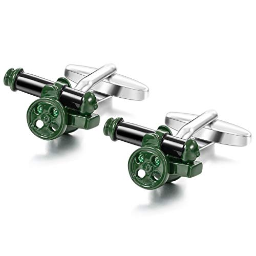 MOWOM Green Black Silver Tone 2PCS Rhodium Plated Enamel Cufflinks Cannon Shirt Wedding Business