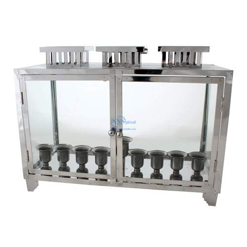 SNSArts & Judaica Beautiful Nickel and Glass Box for Menorah 504020cm with Candle Holders, Min Qty Order 2 - The Price is for 2 pcs