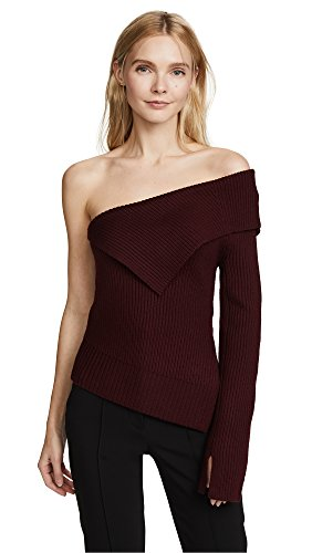 Theory Women's Off The Shoulder Sweater, Burgundy, Small by Theory