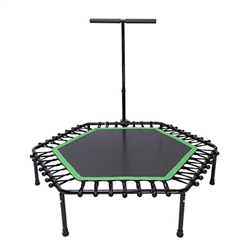 KYLIN SPORT 50 Inch Fitness Trampoline with Adjustable T Handle Indoor Outdoor Hexagon Mini Trampoline For Children/Adults