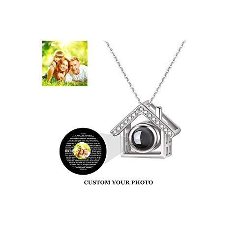 Jumping Birthstone Photo Customized Personalized Necklace I Love You Necklace 100 Languages Memory Projection Pendant for Wedding Mother's Day(Silver Full Color ()