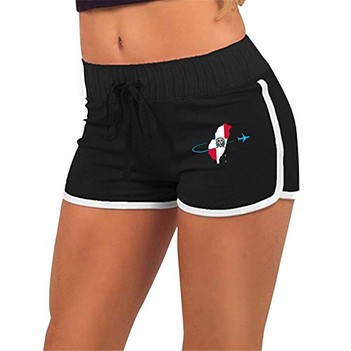 Dominican Flag with Plane,Yoga Shorts Pants with Athletic Elastic Waist Womens Sports Fitness Yoga Shorts