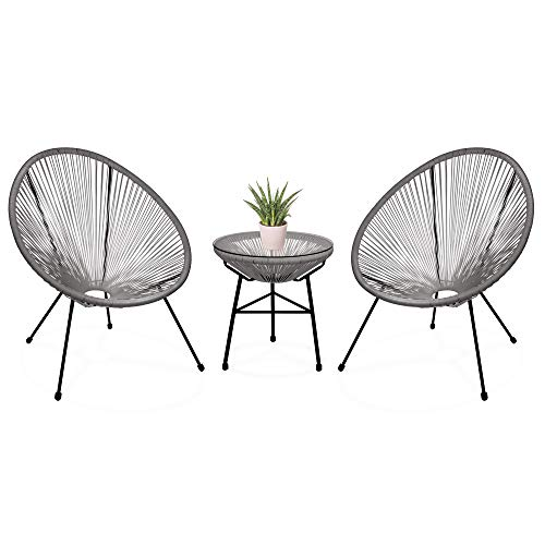 Best Choice Products 3-Piece Outdoor Acapulco Woven Rope Patio Conversation Bistro Set with Glass Top Table and 2 Chairs, Gray (Furniture Outdoor Hamilton)