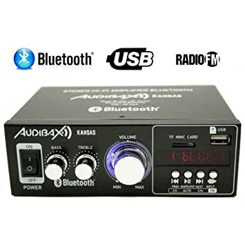 Audibax KANSAS Amplificador HiFi con Bluetooth / MP3 / FM 2 x 40W (Reacondicionado Certificado): Amazon.es: Electrónica