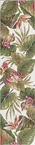 Wool Tropical Floral Area Rug - KAS Oriental Rugs Colonial Collection Tropical Paradise Runner, 2' x 8', Ivory