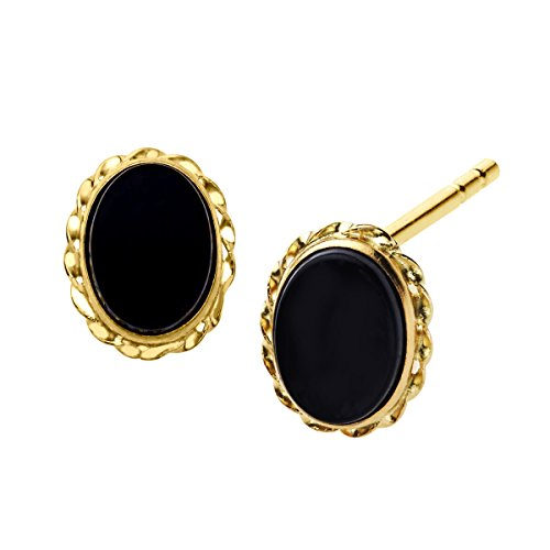 (Natural Oval-Cut Onyx Stud Earrings in 14k Yellow Gold)