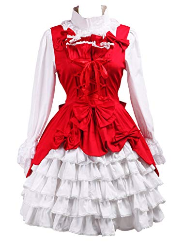 Antaina Red Cotton Bows Ruffle Lace Sweet Victorian Lolita Dress and Headware,M