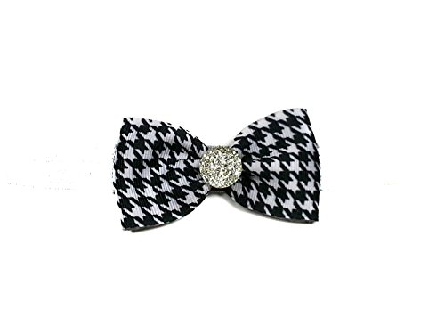 Mini Ribbon Hair Bows with Rhinestones (Alligator Clip, Houndstooth)