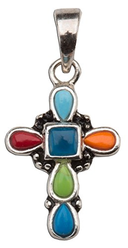 S/s Cross/multi Gemstones Neck 18