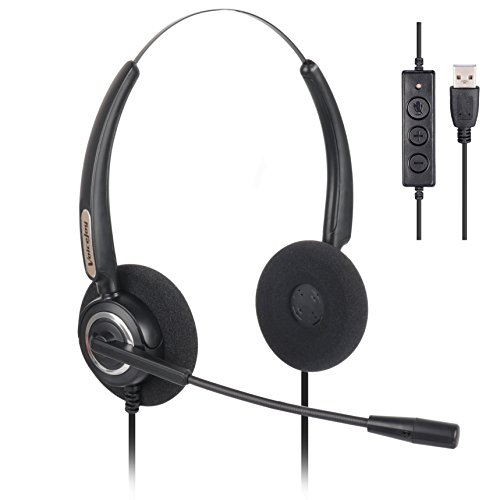 VoiceJoy Office Headset with USB Jack Business Noise Cancelling Binaural Headset With Microphone, Volume Control Mute Switch for Laptops PCs Computers -