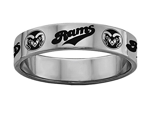 Colorado State University Rams Rings Stainless Steel 6MM Wide Ring Band Size 10.5 by College Jewelry