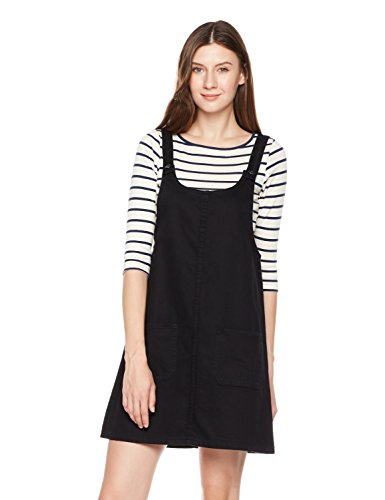 Classic One Pocket (Lily Parker Women's Junior Classic Denim Bib Overall Dress with Pocket (Black, S))