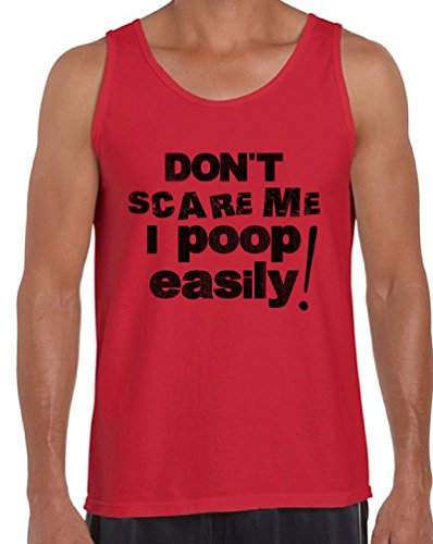 (Awkward Styles Men's Don`t Scare Me I Poop Easily Tank Tops Funny Sayings Red)