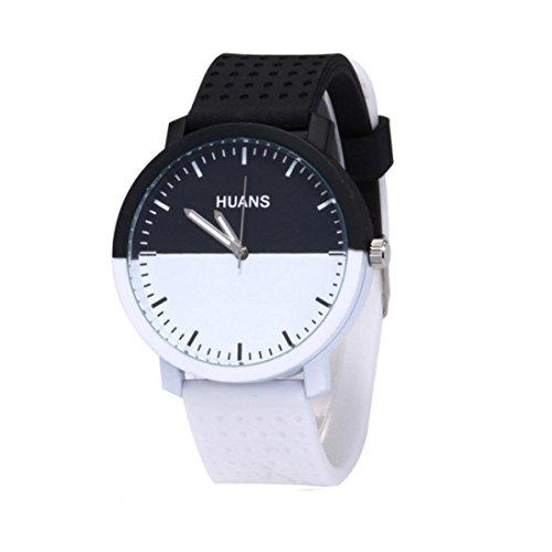 Paymenow Clearance Women Men Unisex Unique Quartz Watch Couple Contrast Color Fashion Analog Wrist Watches for Women Men (White)