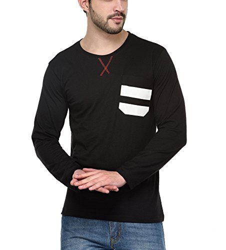 Teesort Men's Full Sleeves T-Shirt With Leather Pocket