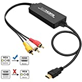 RCA to HDMI Converter, Gaxiog AV to HDMI Adapter, 3RCA CVBS Composite to Audio Video Converter Supporting PAL NTSC 1080P for WII, WII U, PC Laptop, Xbox, PS3, PS4, TV STB, VHS VCR Camera DVD Players