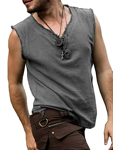 Mens Medieval Pirate Tank Tops Renaissance Viking Sleeveless T Shirt Scottish Cosplay Costume Top Dark Grey -
