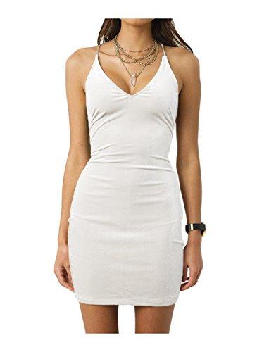 - Zyyfly Doramode Womens Spaghetti Strap Bodycon Sleeveless Backless Velvet Sexy Short Club Dress White
