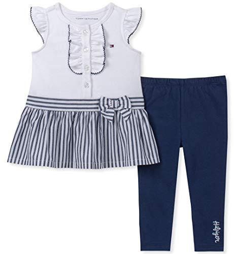 (Tommy Hilfiger Baby Girls 2 Pieces Legging Set, White/Navy, 3-6 Months)