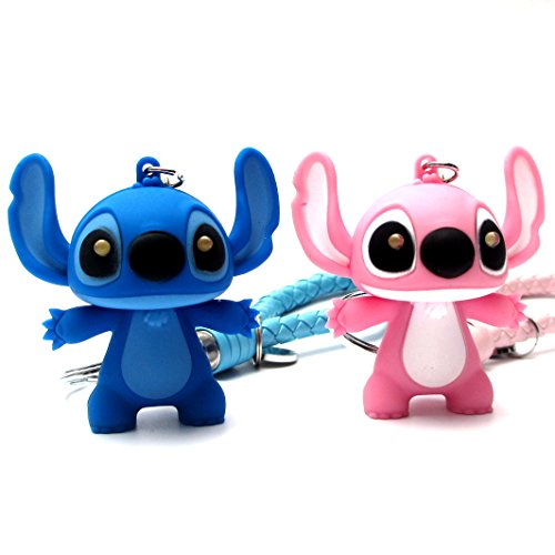 (FASHION ALICE 2PCS Stitch Keychain+2PCS Leather Strap, 2