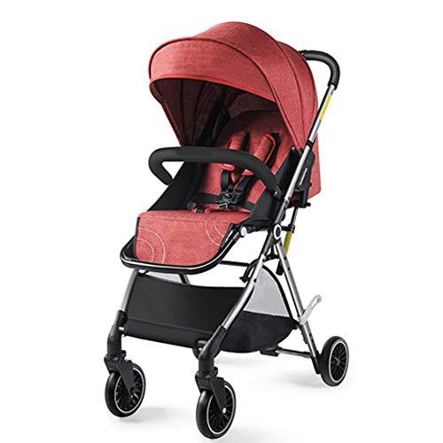 ZHENAI Parasoles para Silla de Paseo, Amortiguador de Cuatro Ruedas Plegable Cochecito de Bebe de Vias Sistema de Viaje Ligero, Apto para 0-36 Meses, 6.8kg,Rojo