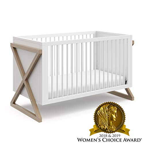 Storkcraft Equinox 3-in-1 Convertible Crib (Vintage Driftwood) - Easily Converts to Toddler Bed and Daybed, 3-Position Adjustable Mattress Support Base, Modern Two-Tone Design for Contemporary Nursery