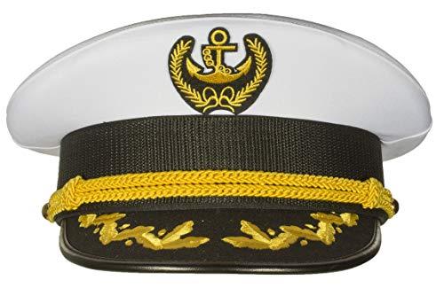 Deluxe Men's Captain Skipper Yacht Hat, Sizes 57-60 cm, Commercial Quality (58 cm)]()