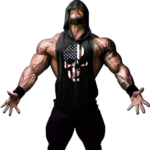 workout Products : Gym hoodies Men Sleeveless Bodybuilding Muscle Stringer shirt American Skull