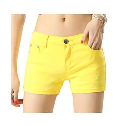 Abetteric Women Short Summer Shorts Skinny Summer Leisure Mulit Color Shorts Jeans Yellow XS free shipping