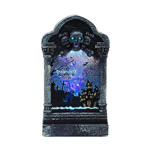 Halloween Decoration DOOIOR Desktop Glowing Tombstone Glowing Ornament Home KTV Haunted House Props]()