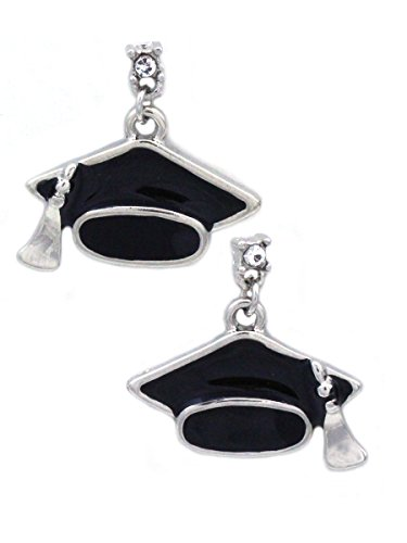 cocojewelry Graduation Cap Hat Tassel Dangle Charm Post Earrings Jewelry Gift Box ()