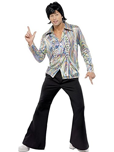 Smiffys Men's 70S Retro Costume with Psychedelic Pattern Shirt and Flares, Multi, (Seventies Costume Patterns)