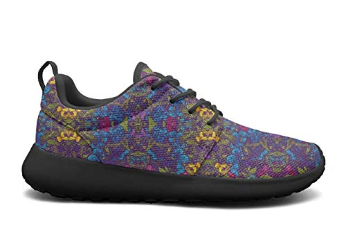 (VXCVF Blue Rose Chrysanthemum Wisteria Rose Garden Black Girls Tennis Shoes Lightweight Athletic)