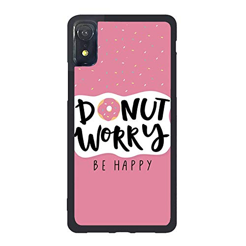 FIDIKO Donut Worry, Be Happy Protective Cases Compatible iPhone XR, Popular Pink Girls Hard Plastic Slim   Anti Slip Back Cover Compatible iPhone XR