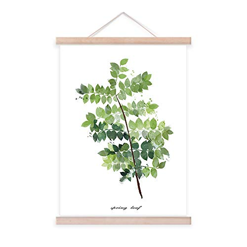 - Canvas Prints Scroll Poster Wall Decorations Artwork Green Leaves Plant Wall Art 16x24 Simple Life Minimalist Tropical Botanical Picture with Ramin Wood Hanger for Office Decor
