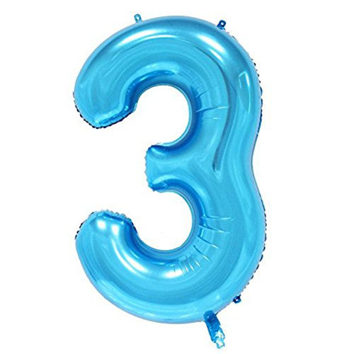 Tellpet Blue Number 3 Balloon, 40 Inch -