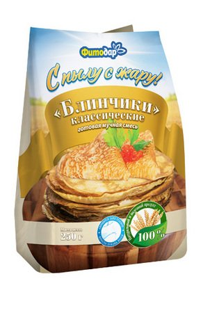 Fitodar Classic Pancakes (Russian Bliny), 100% Natural, Ready mix for baking, 9 Ounce / 250 Gr.