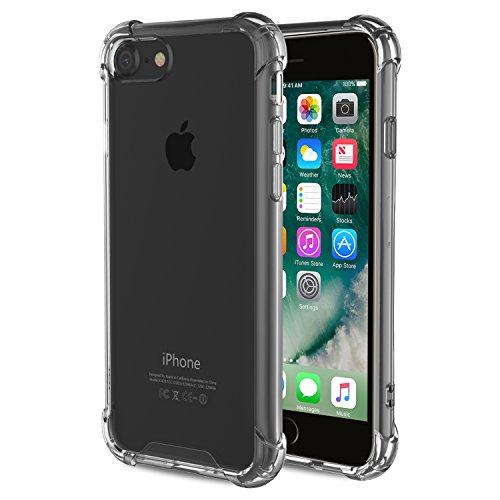 MoKo for iPhone 7 Case/iPhone 8 Case, Crystal Clear Shock Absorption Reinforced Corners TPU Bumper Cushion + Hybrid Rugged Transparent Panel Cover for Apple iPhone 7/8, Gray ()
