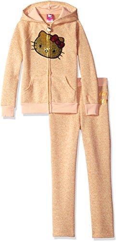 (Hello Kitty Big Girls' 2 Piece Hooded Fleece Active Set, Cream 86875, 7)